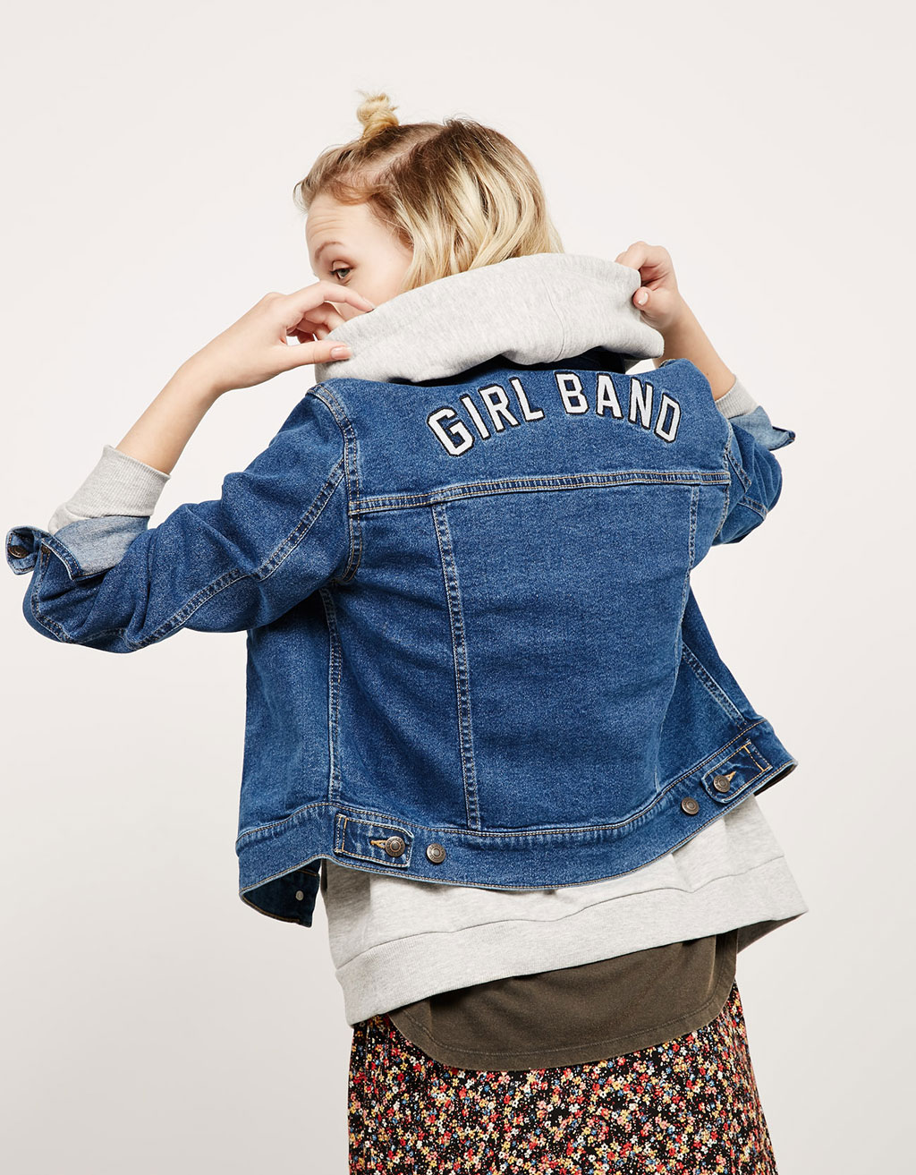 BSK embroidered back denim jacket