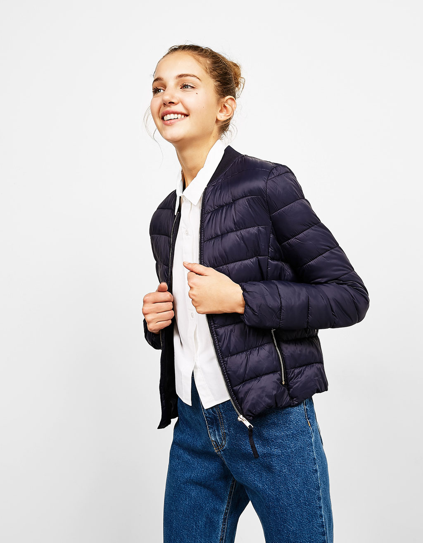 Ribbed nylon jacket with collar