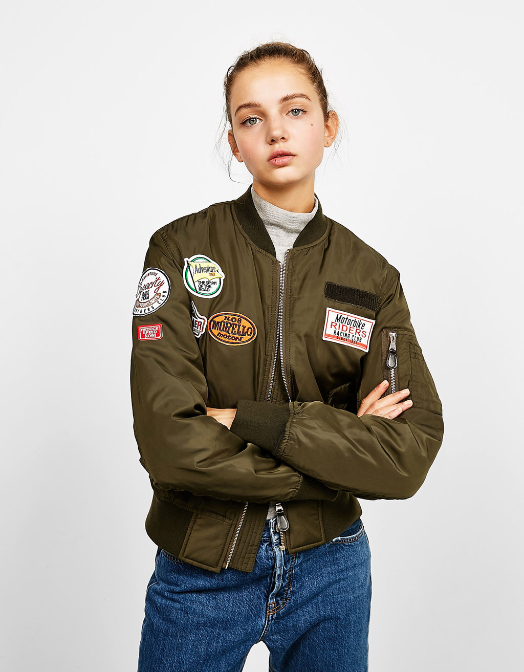 BSK patch bomber jacket with patches
