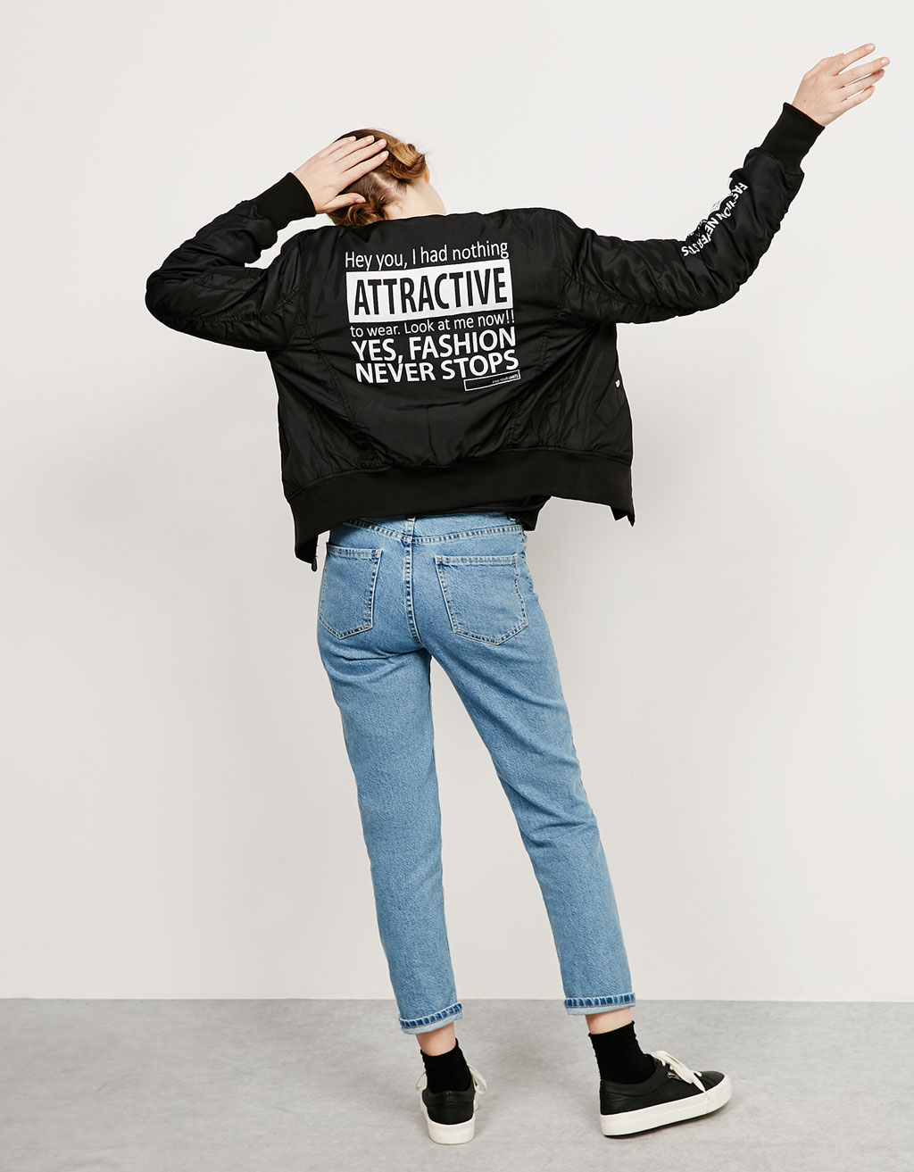 BSK text bomber jacket