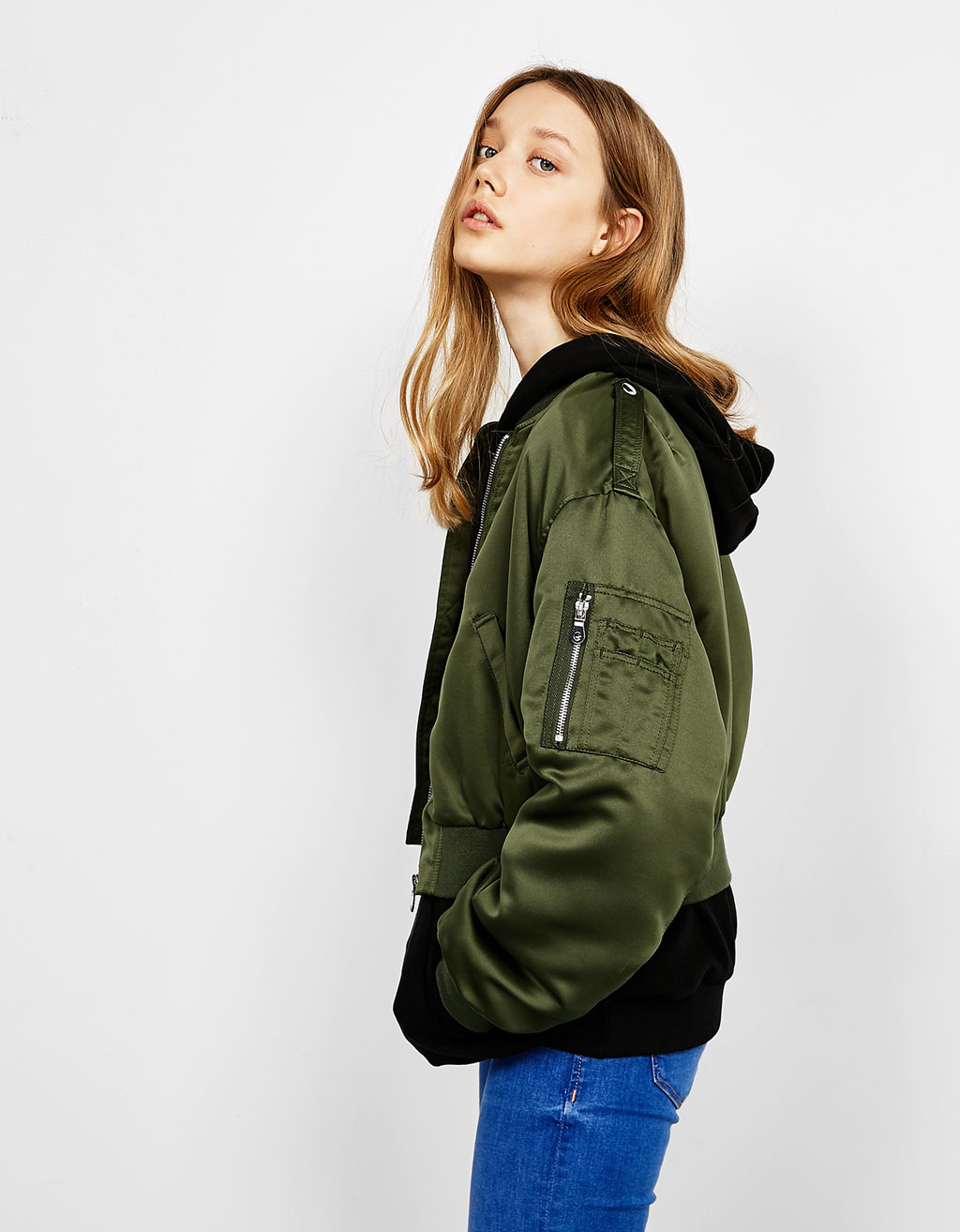 Satin bomber jacket with oversized sleeves