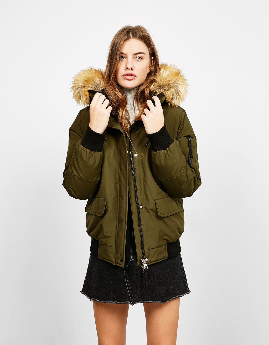 Nylon jacket with detachable faux fur hood trim