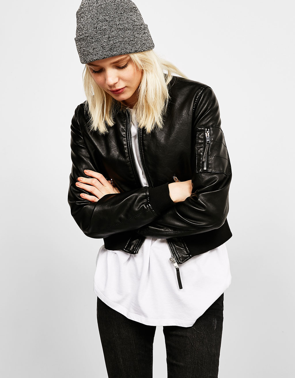 Leather-effect bomber jacket