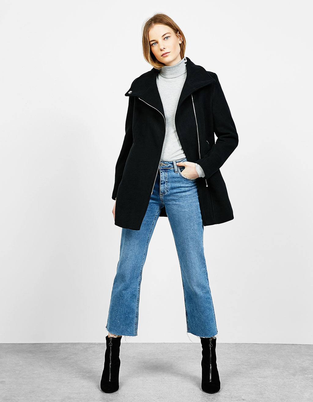 High neck coat with side zip