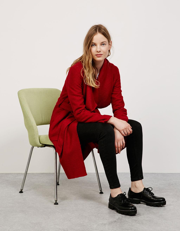 Belted flowy wool coat