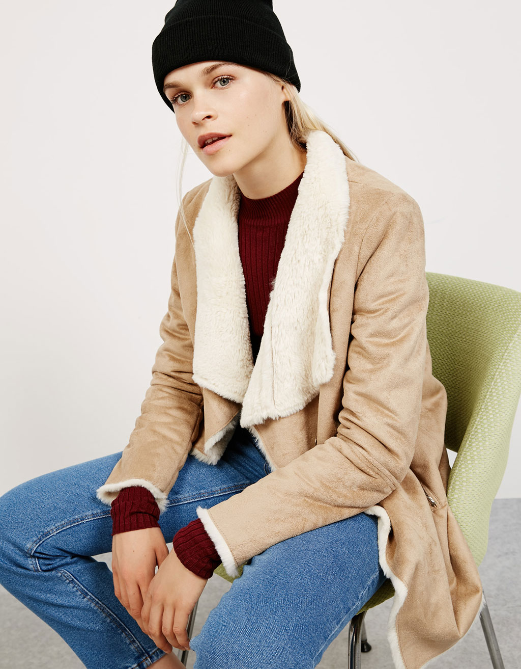 Bershka double-sided draped coat
