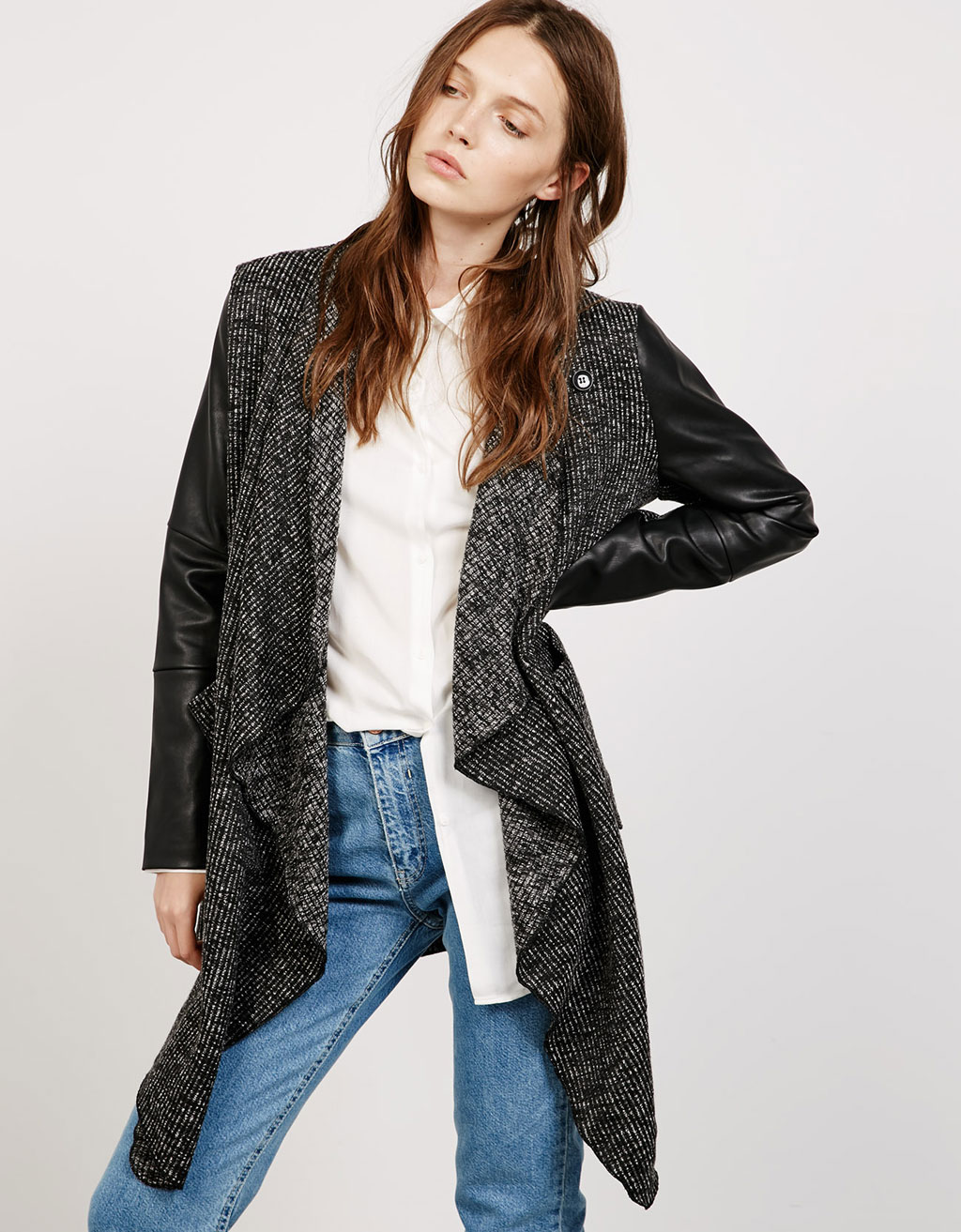 Draped fleece coat with imitation leather sleeves