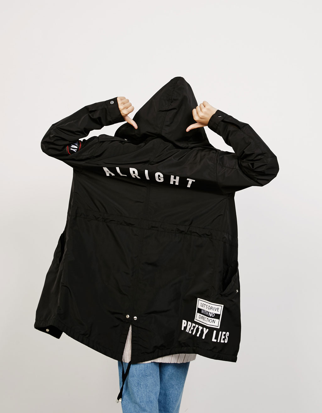 Nylon parka with patches and text