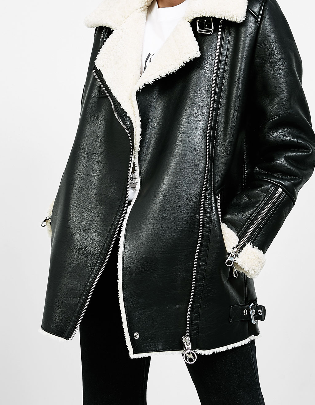 Double-faced biker coat