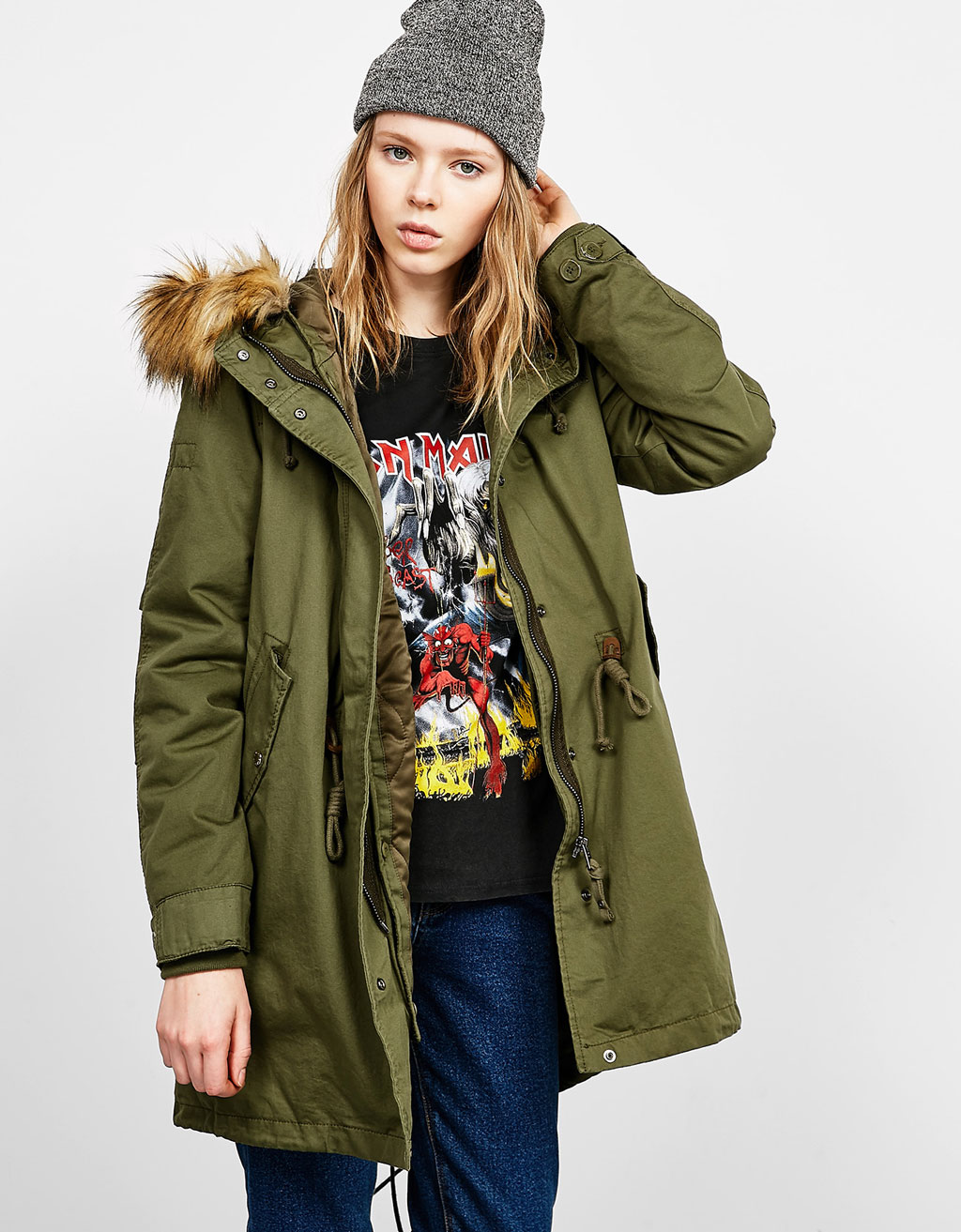 Cotton parka with detachable satin lining