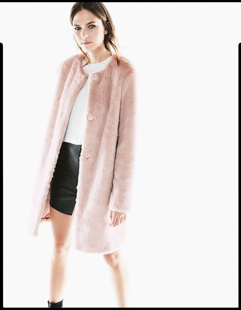 Pink long hair coat