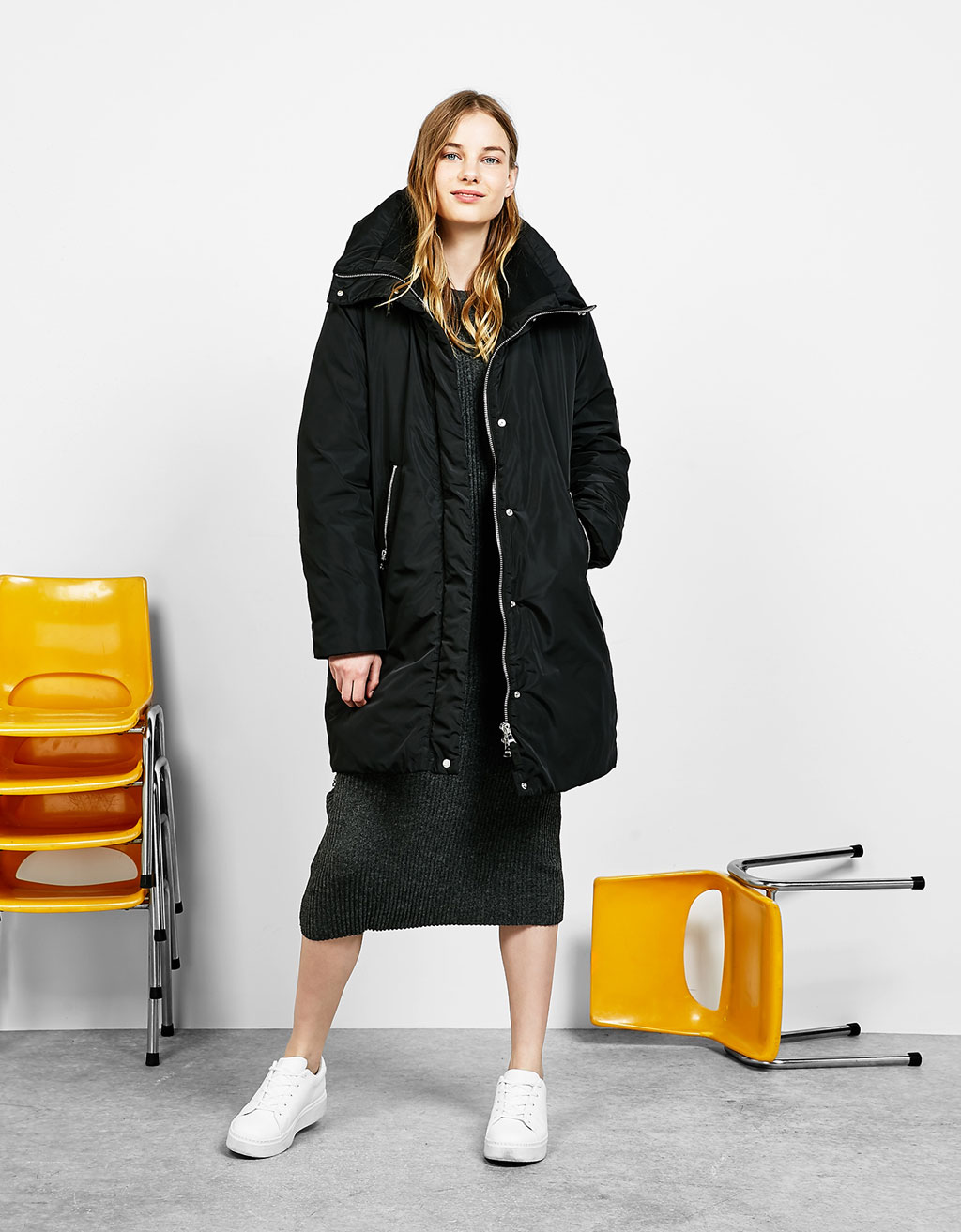 Nylon coat with wrap collar
