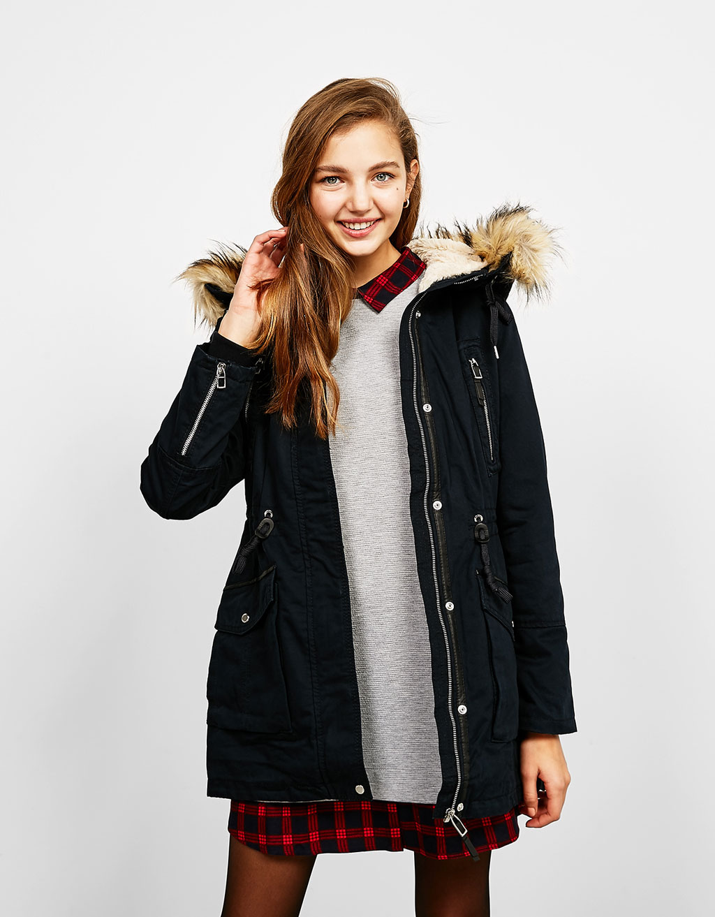 Fur and satin parka with detachable hood