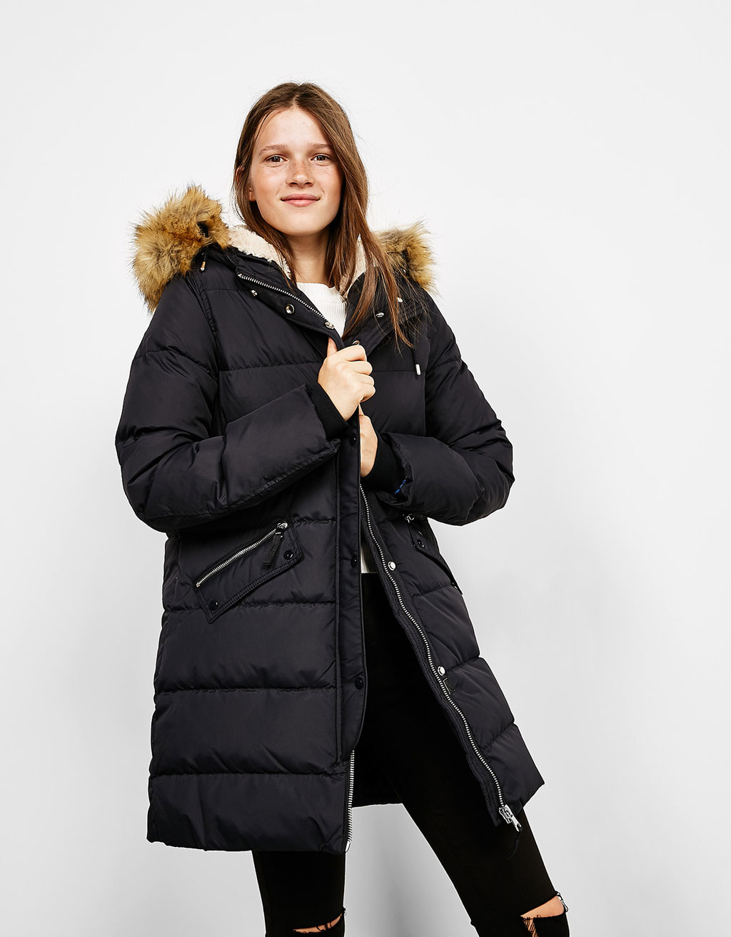 Down filled nylon coat with detachable faux fur