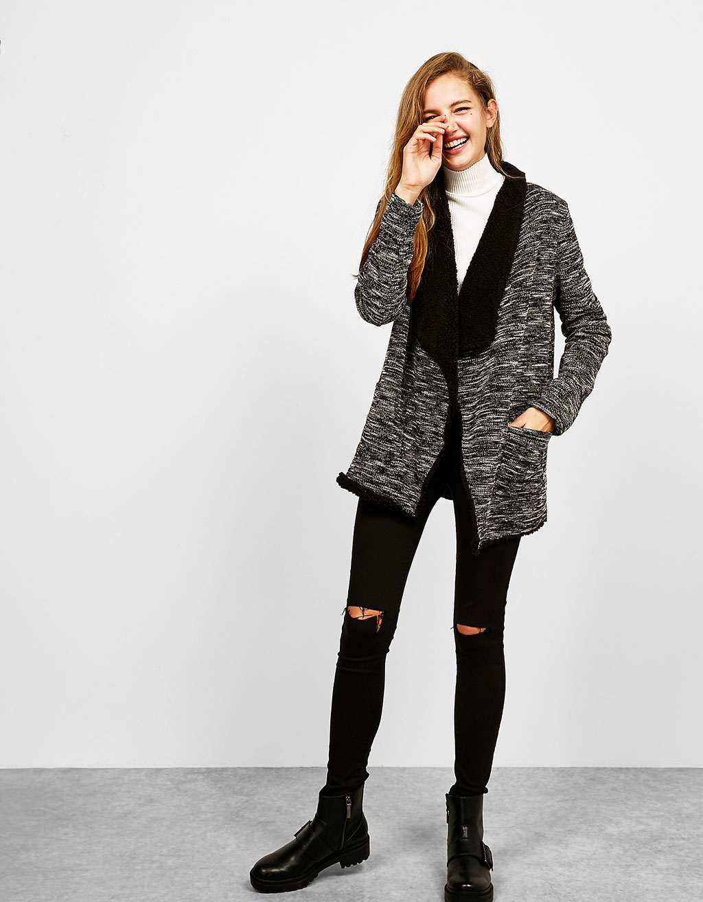 Fur lined draped coat