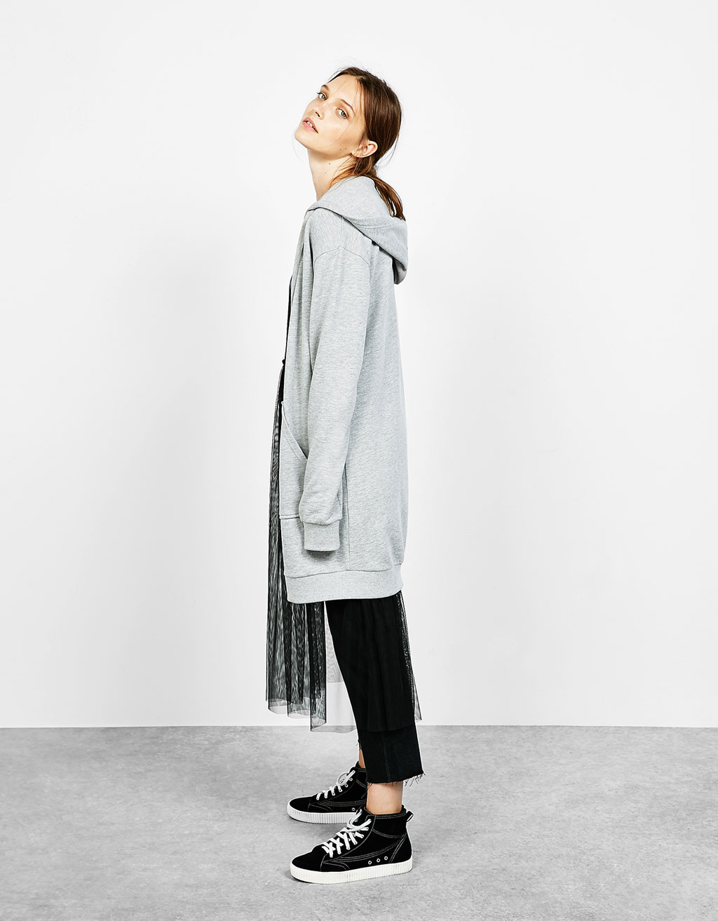 Hooded oversized long jacket