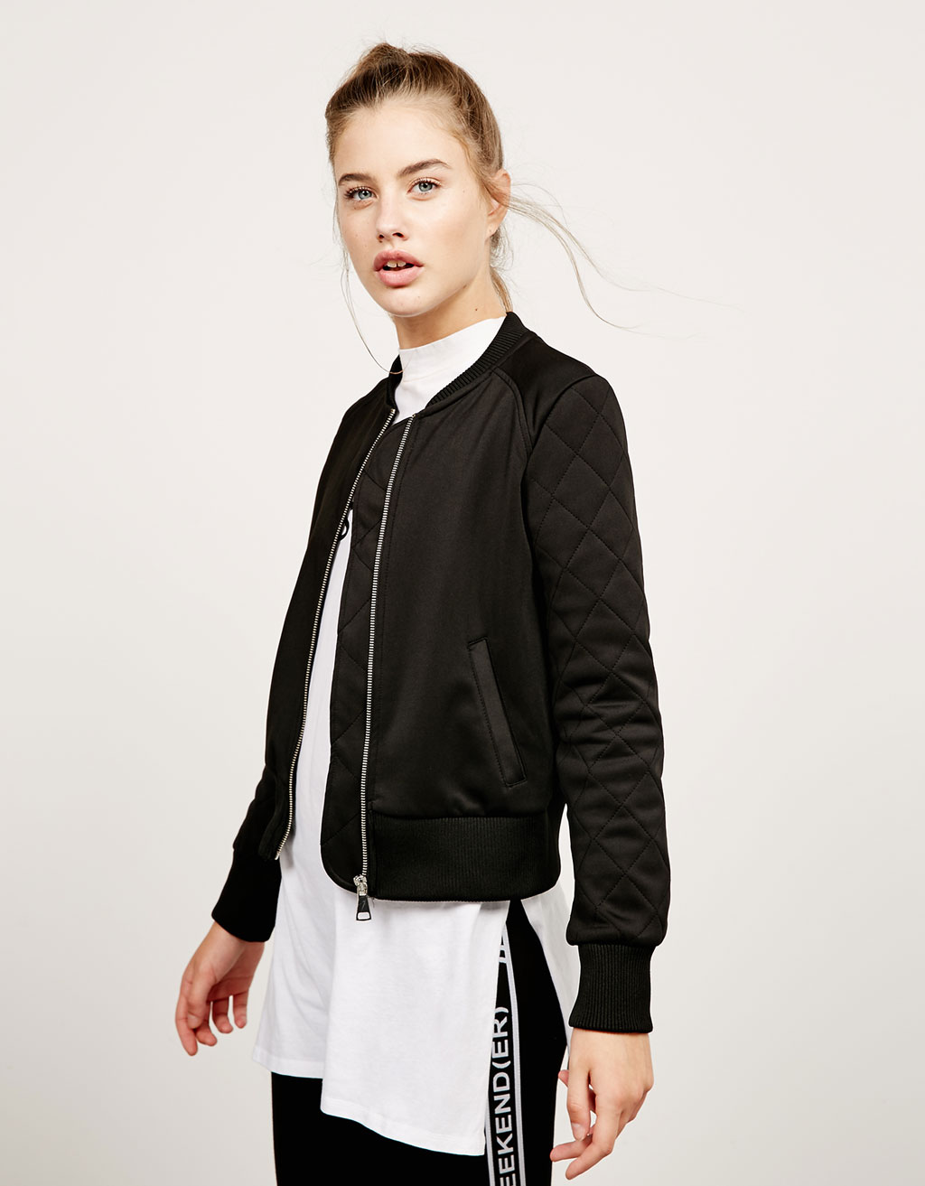 Bomber jacket with quilted sleeves