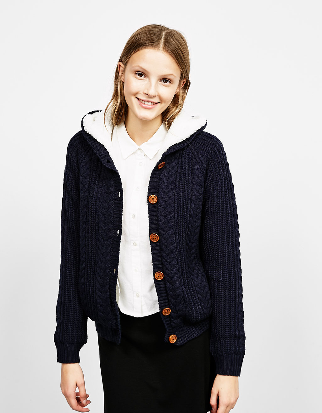 Lined tricotine cardigan
