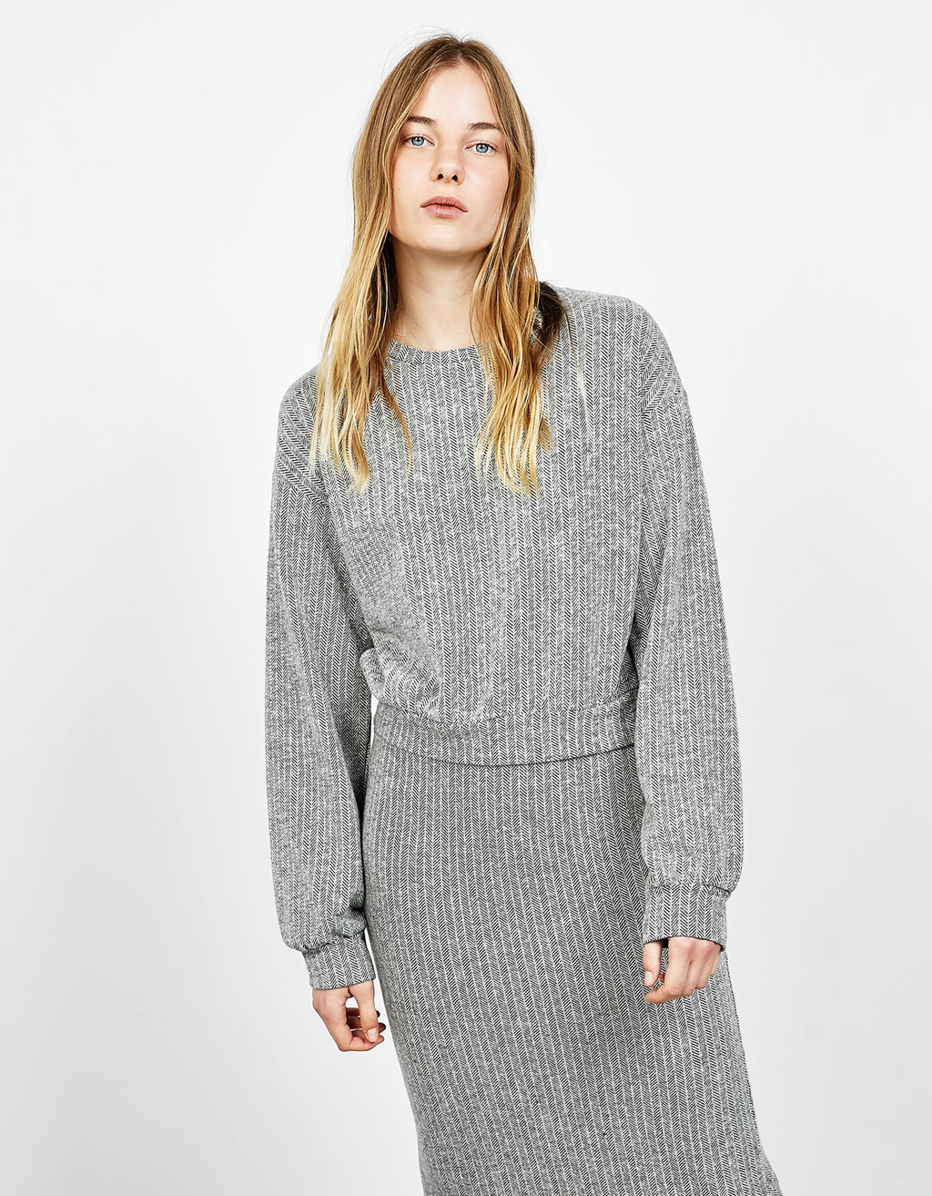 Herringbone funnel neck sweater