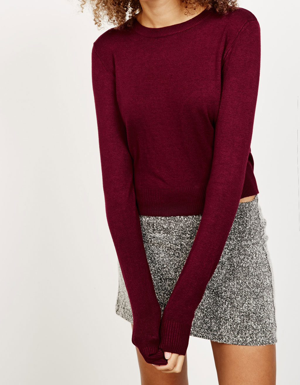Cropped viscose and nylon jumper