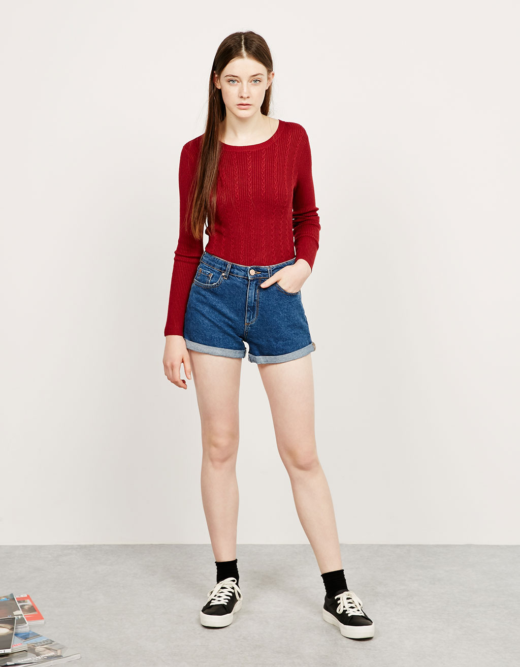BSK braided and ribbed Kelly jumper