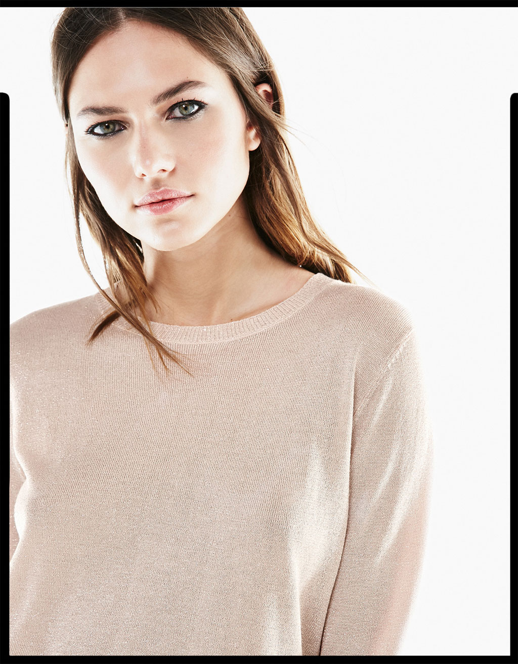 Cropped metallic fibre sweater