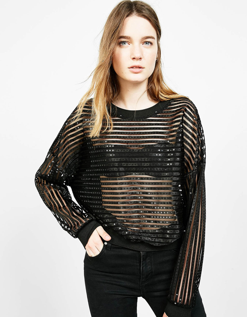 Sequinned sweater with organza back
