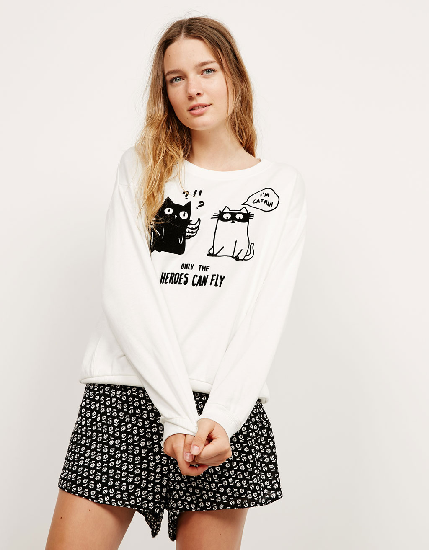 Flocked cats and dogs plush sweatshirt