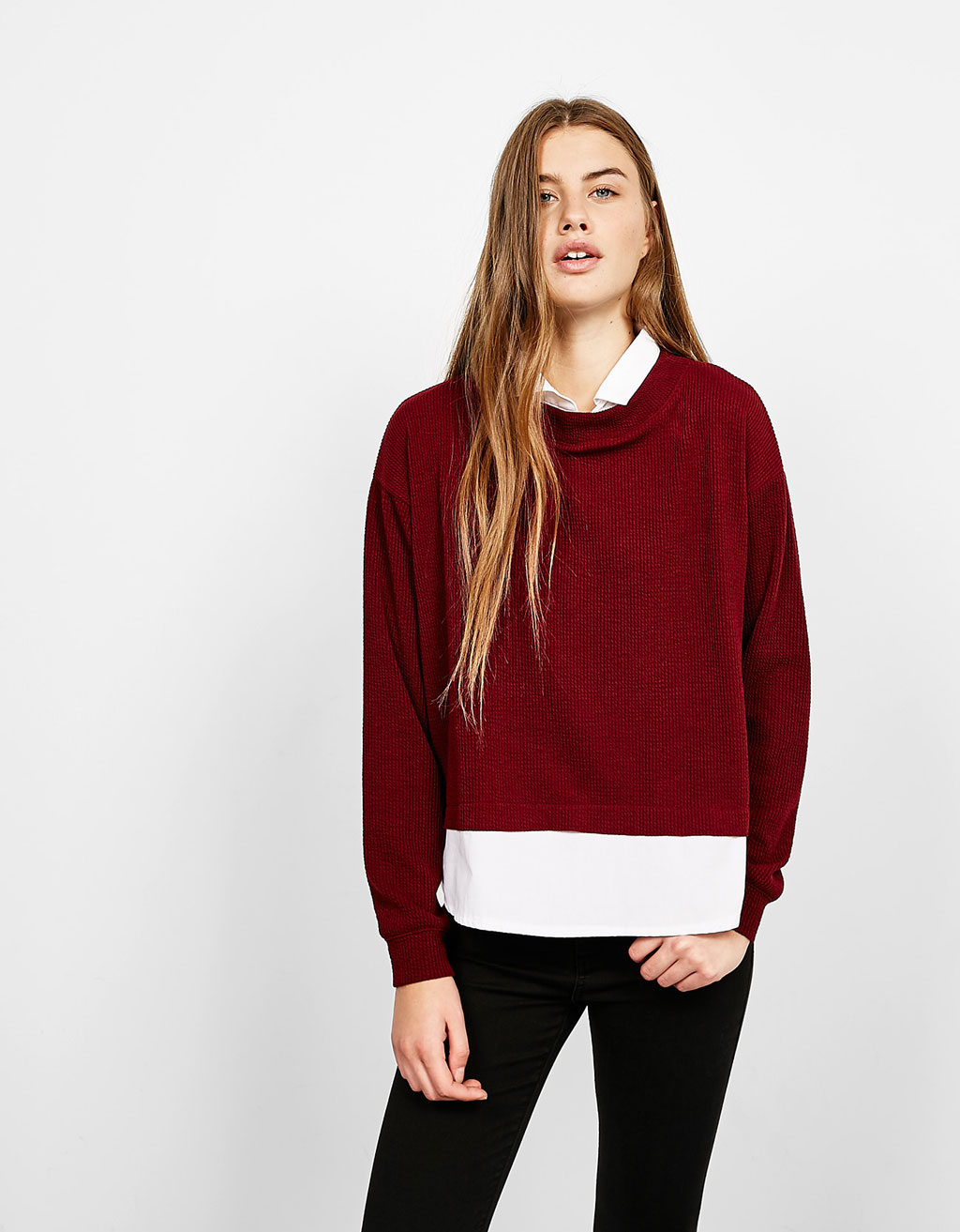 Ribbed jumper with shirt neck and hem