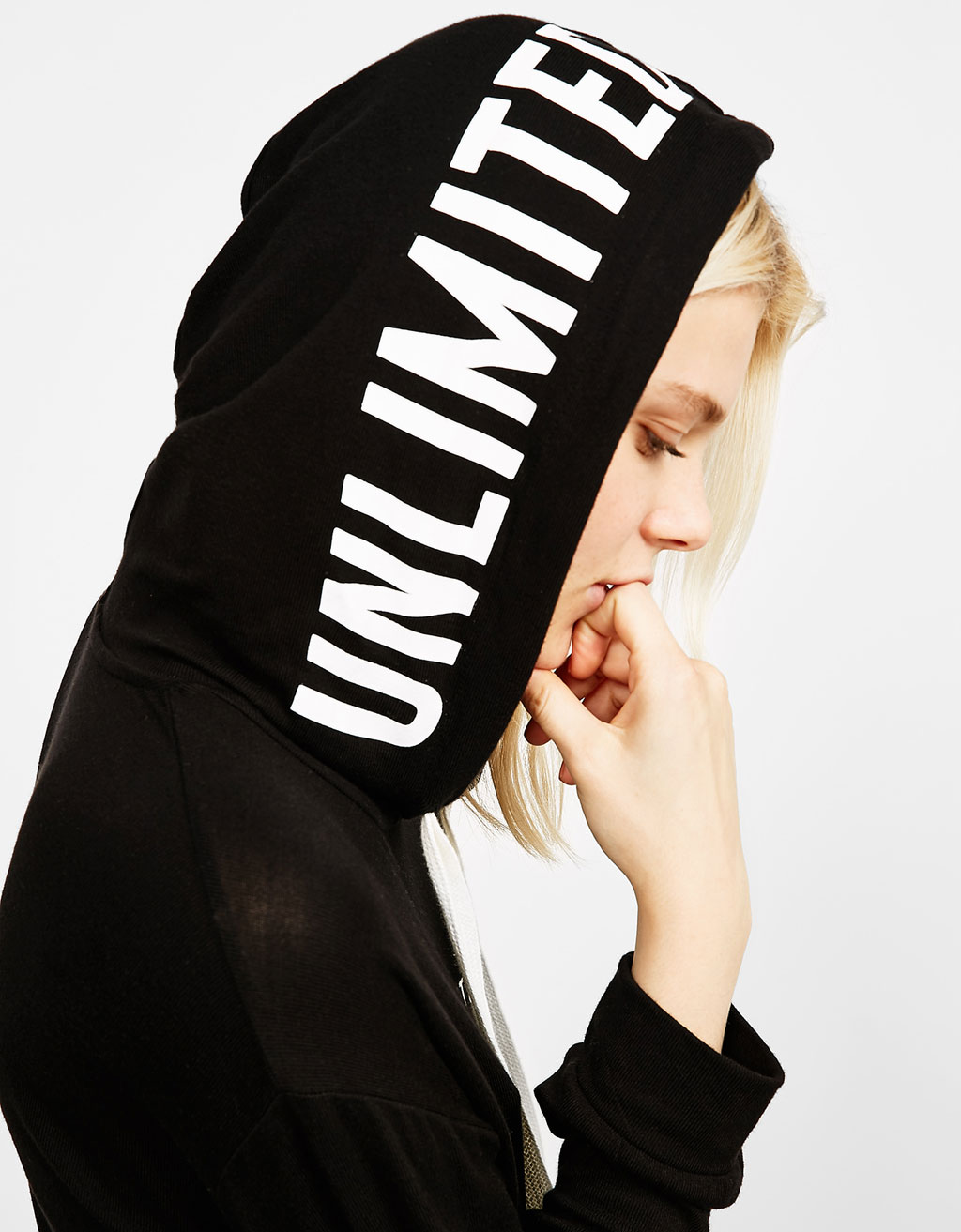 Hooded sweatshirt with text