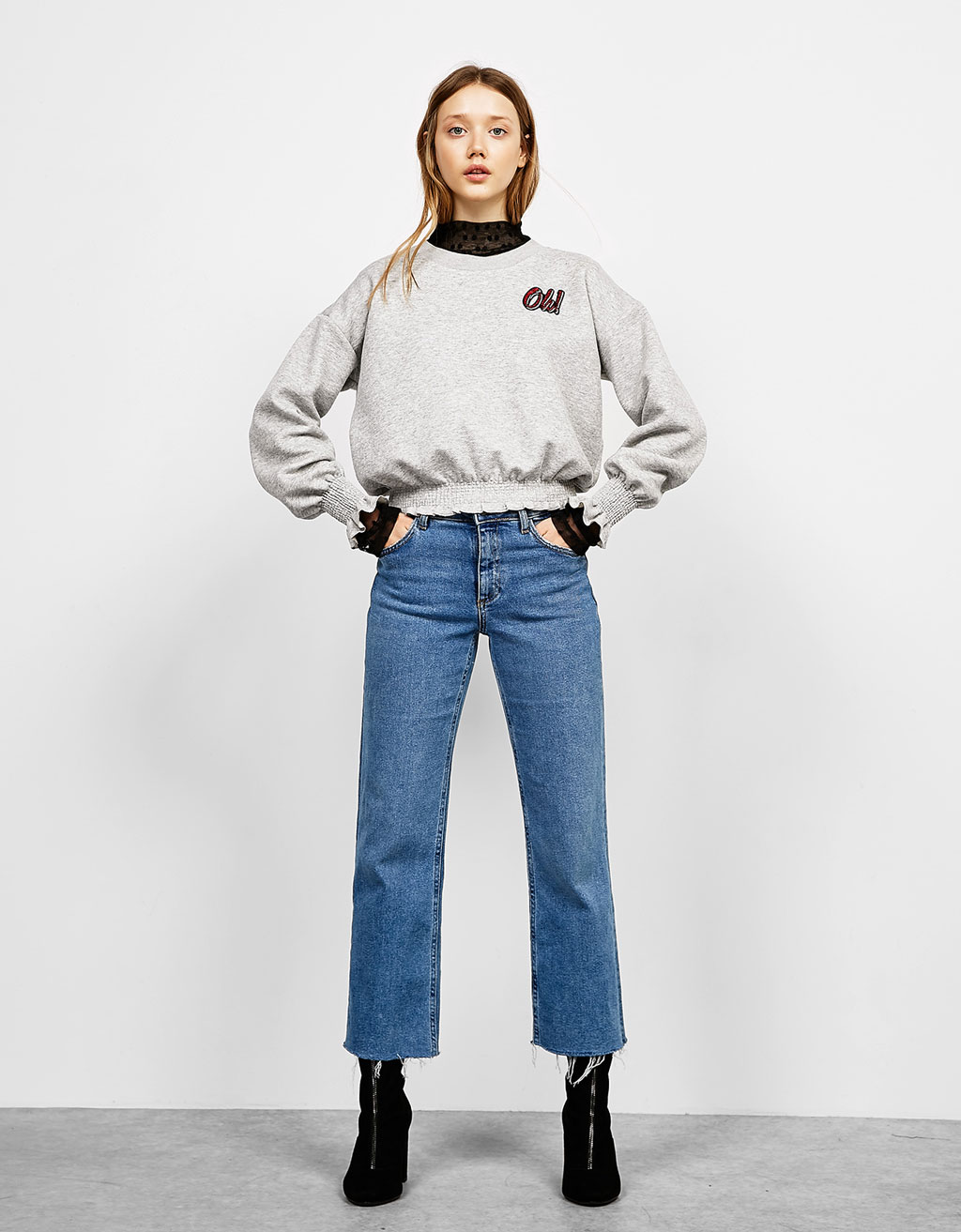 Plush sweatshirt with gathering and patches