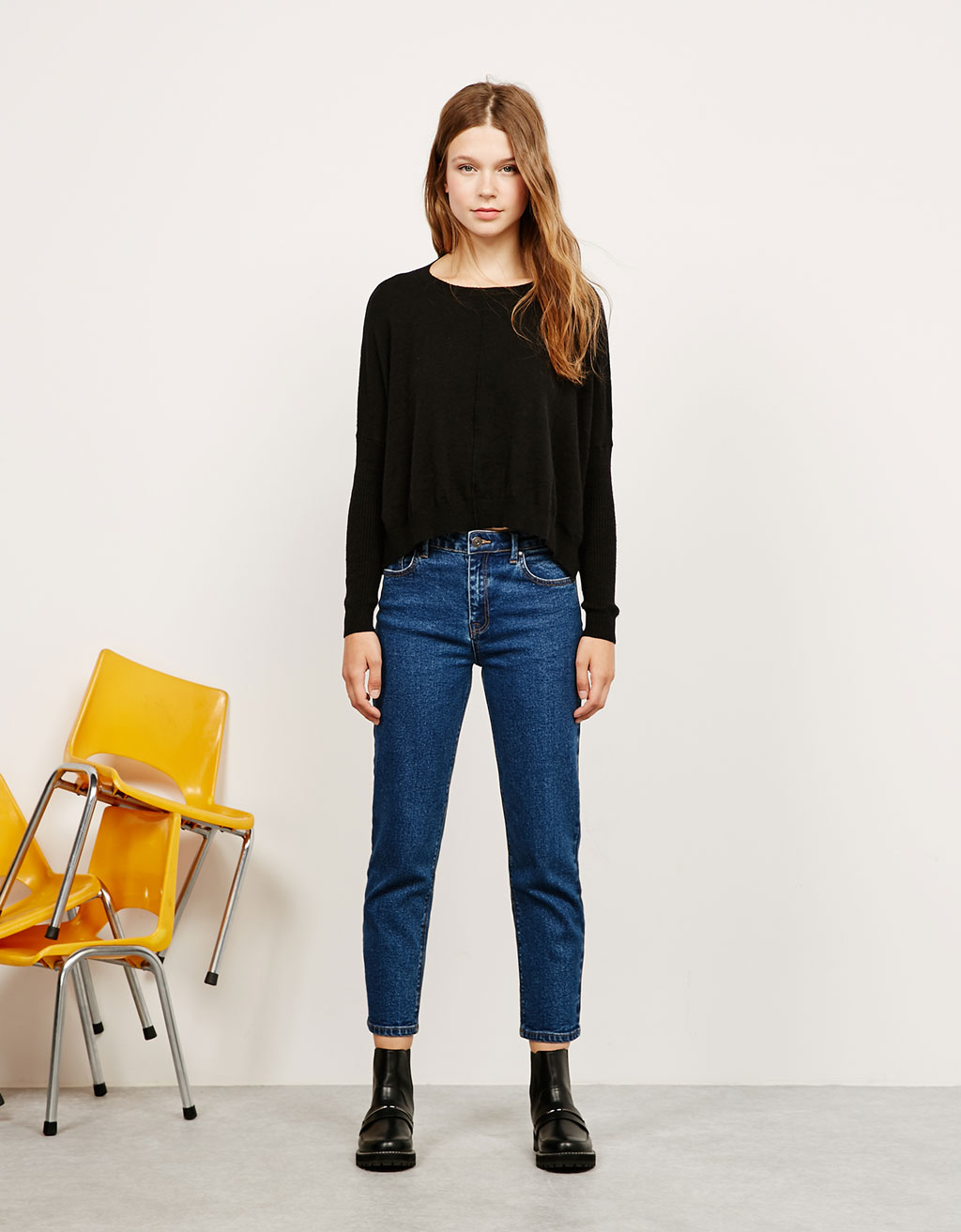 Round neck wide jumper
