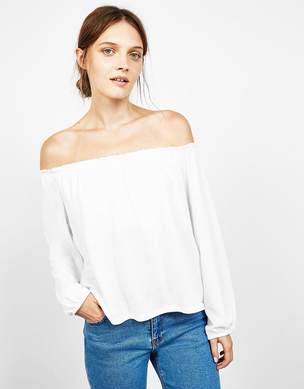 Bardot neckline top