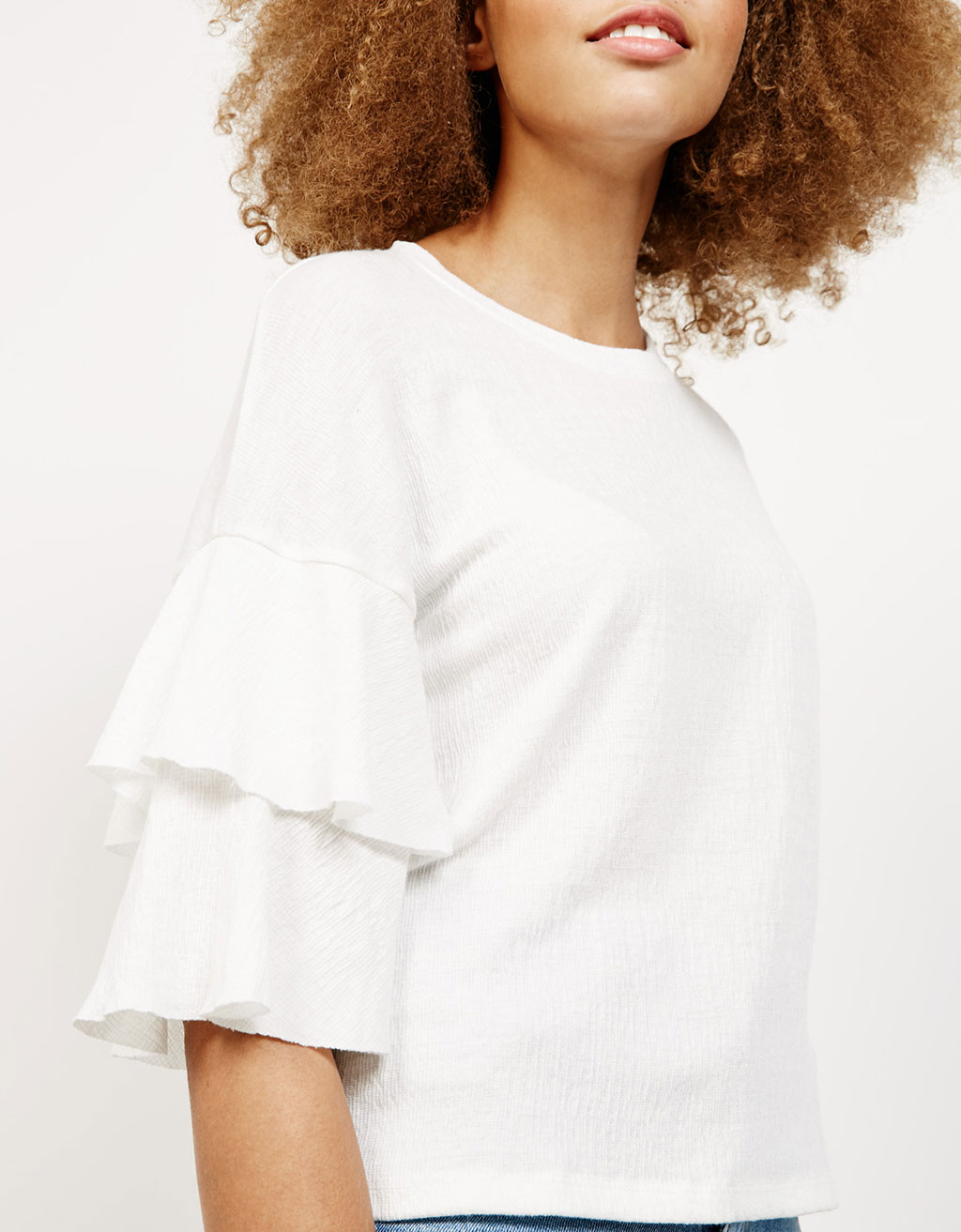 Ruffled sleeves top