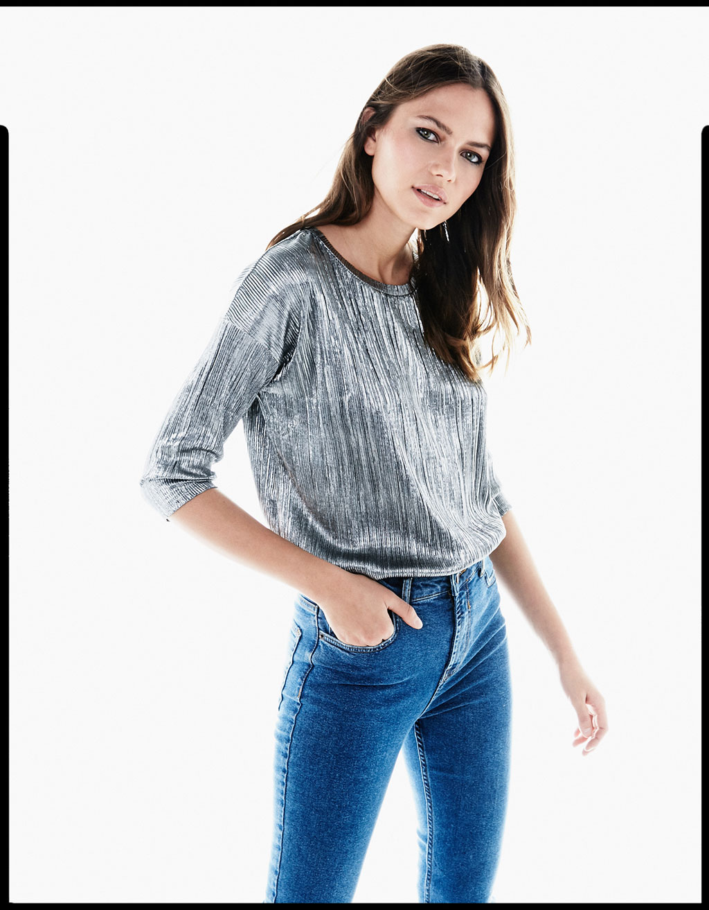 Metallic pleated T-shirt