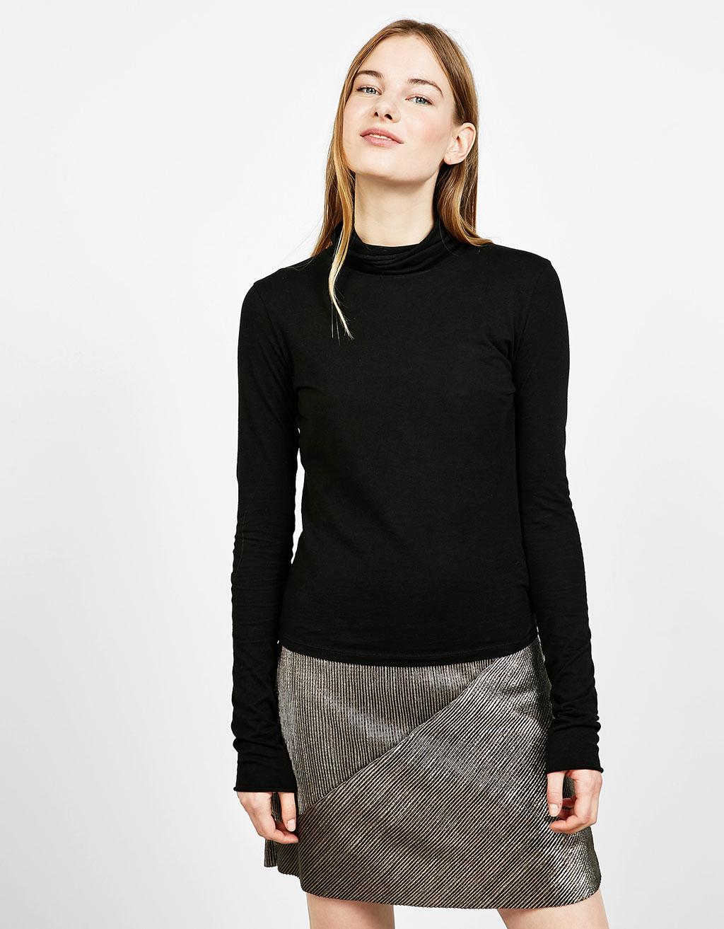 Roll neck top with very long sleeves