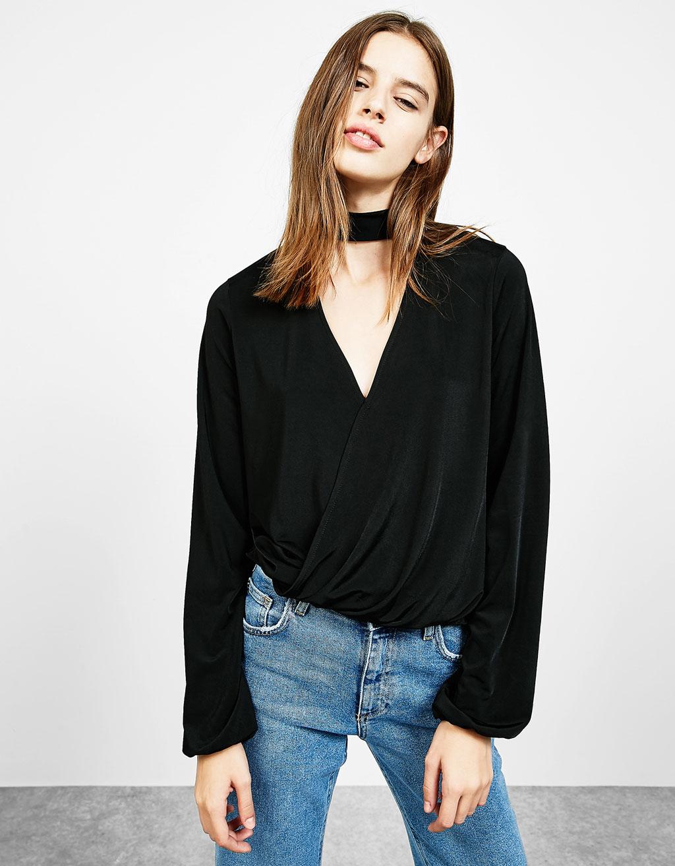 T-shirt manches longues croisé