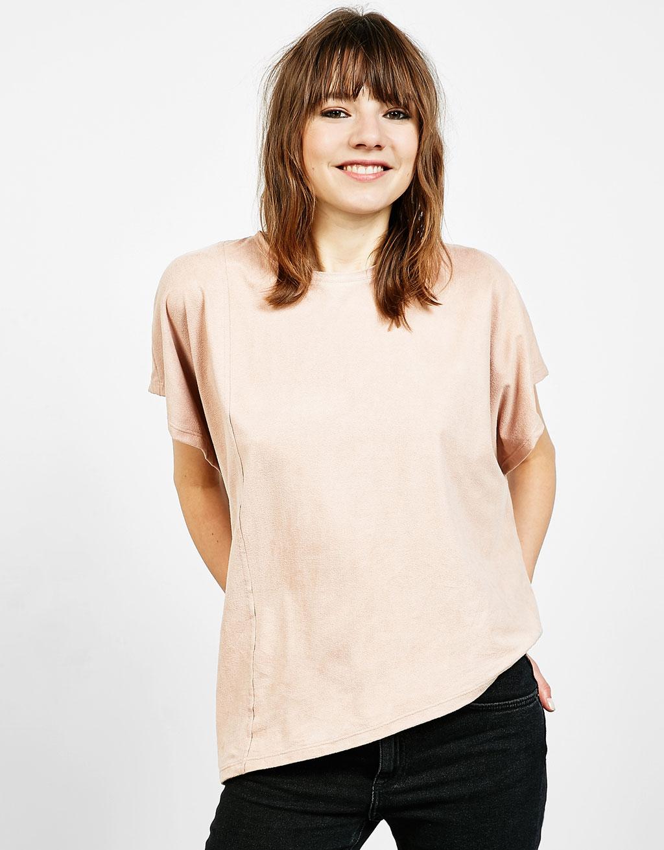 Asymmetric faux suede T-shirt
