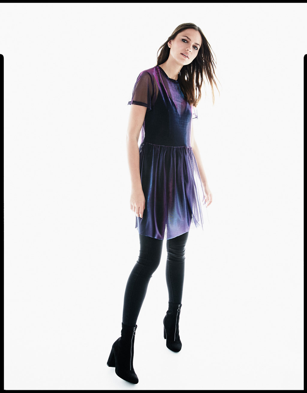 Iridescent T-shirt with tulle tutu