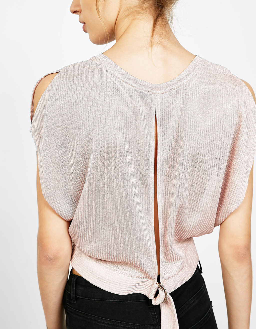Metallic thread ribbed top with back ring