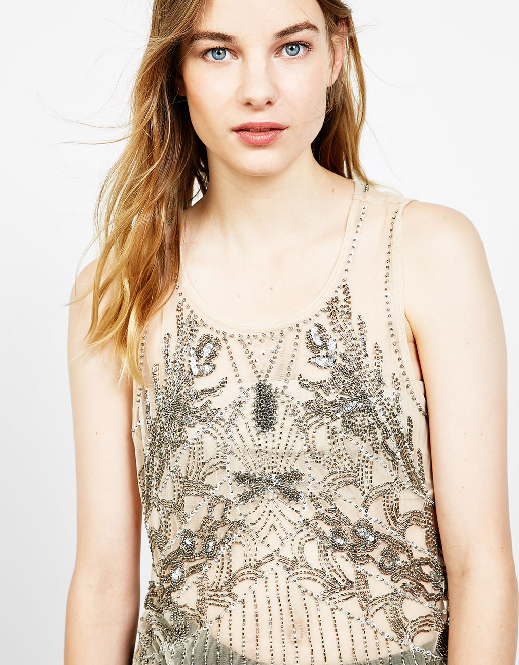 Embroidered tulle top with beads and sequins