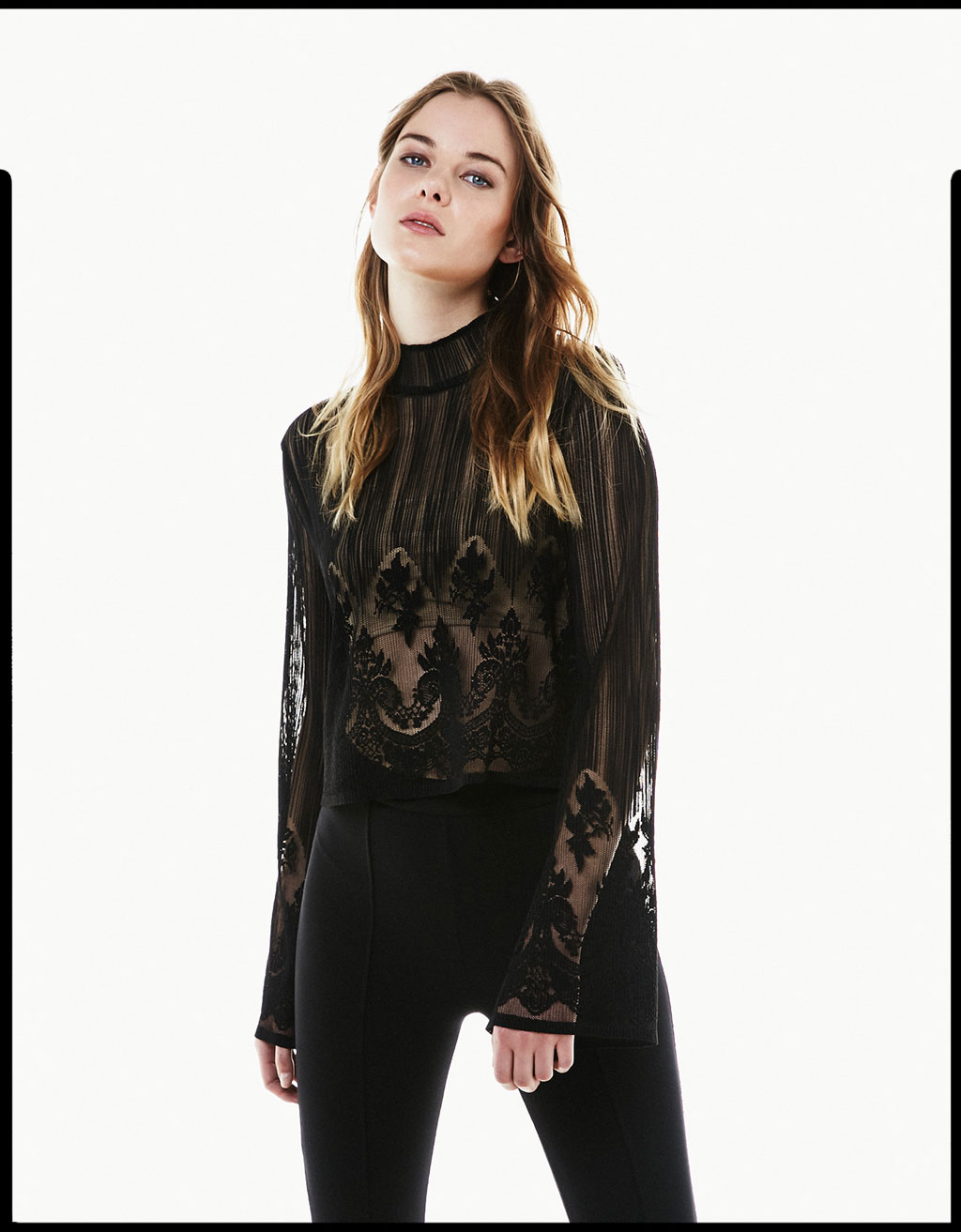 Flared sleeve lace blouse