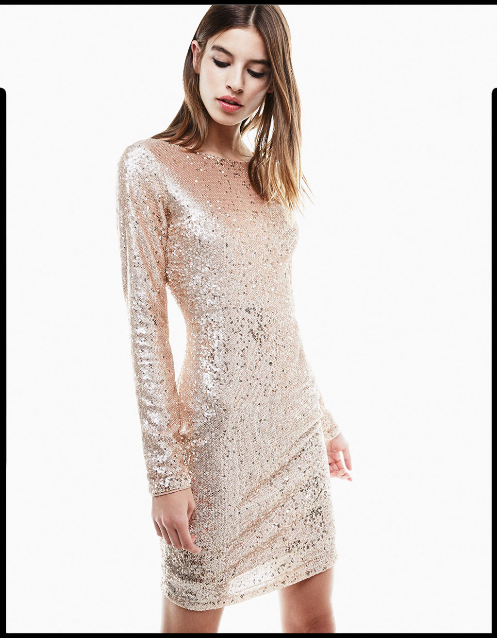Long sleeved sequinned dress