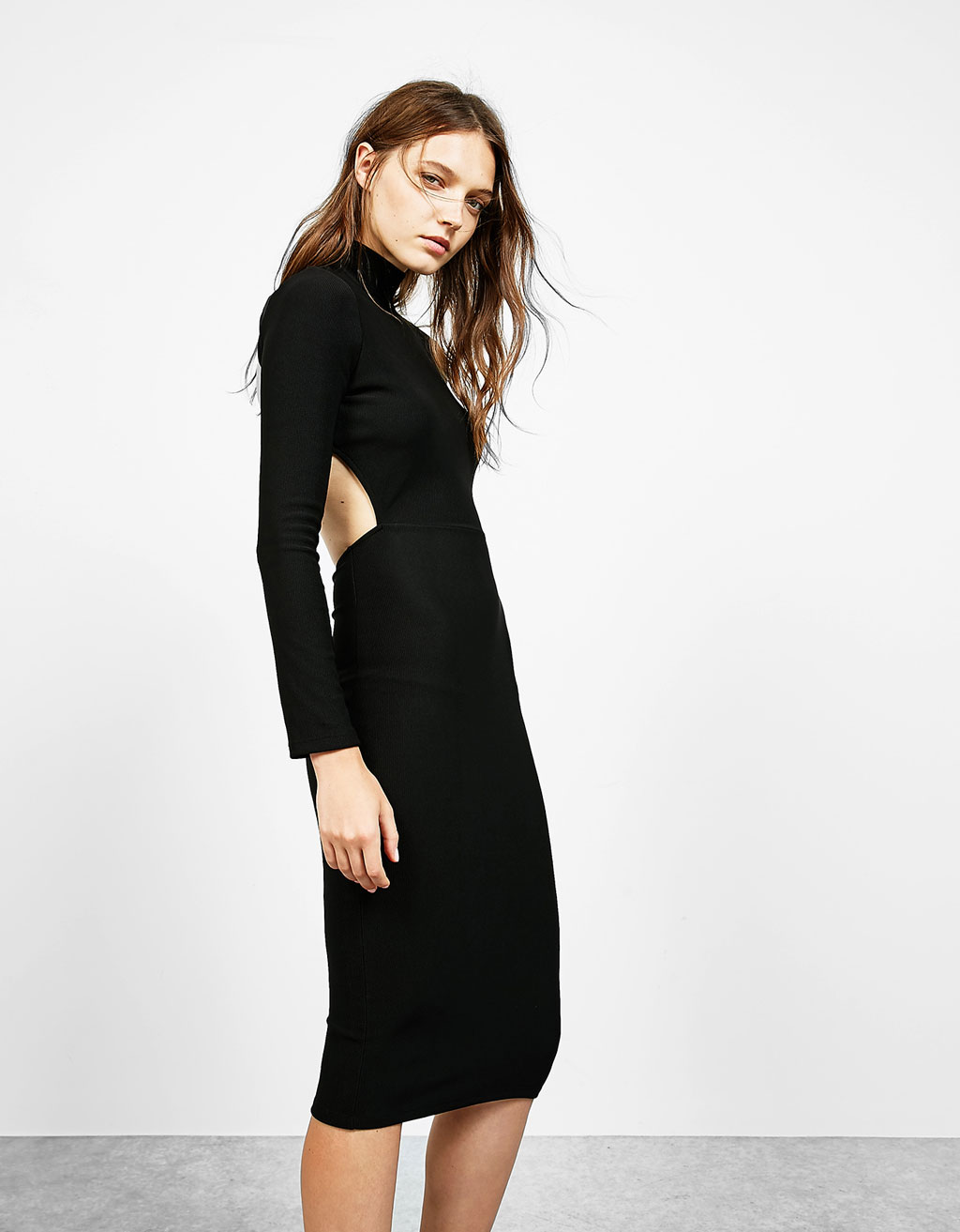 Ribbed open back midi dress