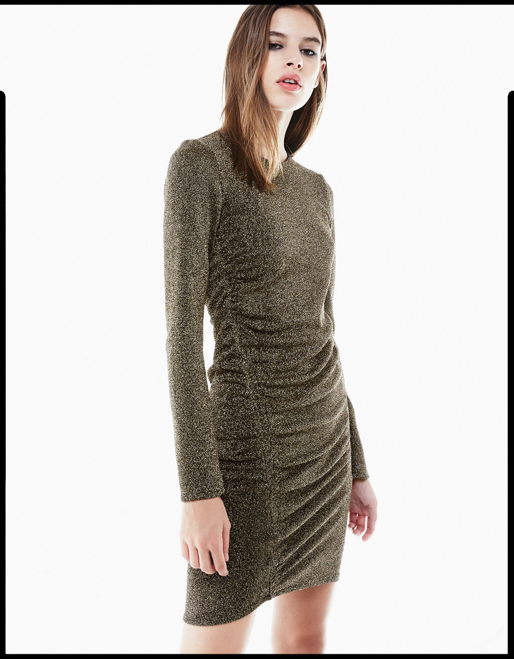 Metallic fibre dress with draped side