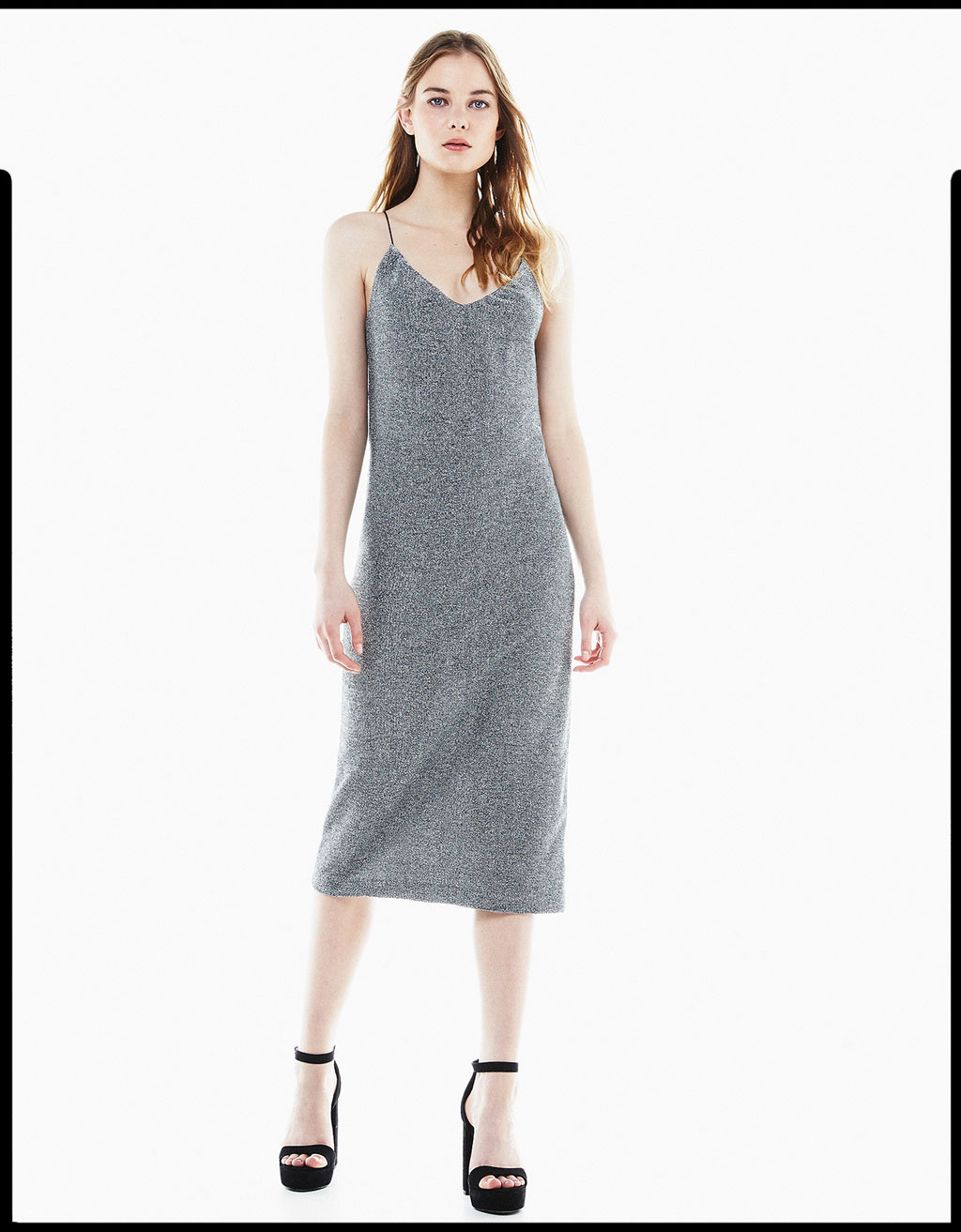 Metallic fiber camisole dress