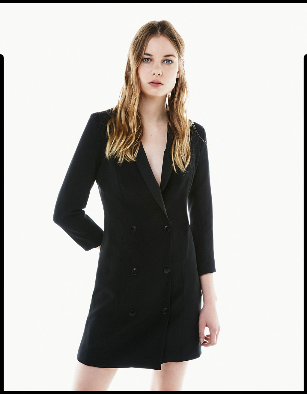 Long sleeve tuxedo collar dress
