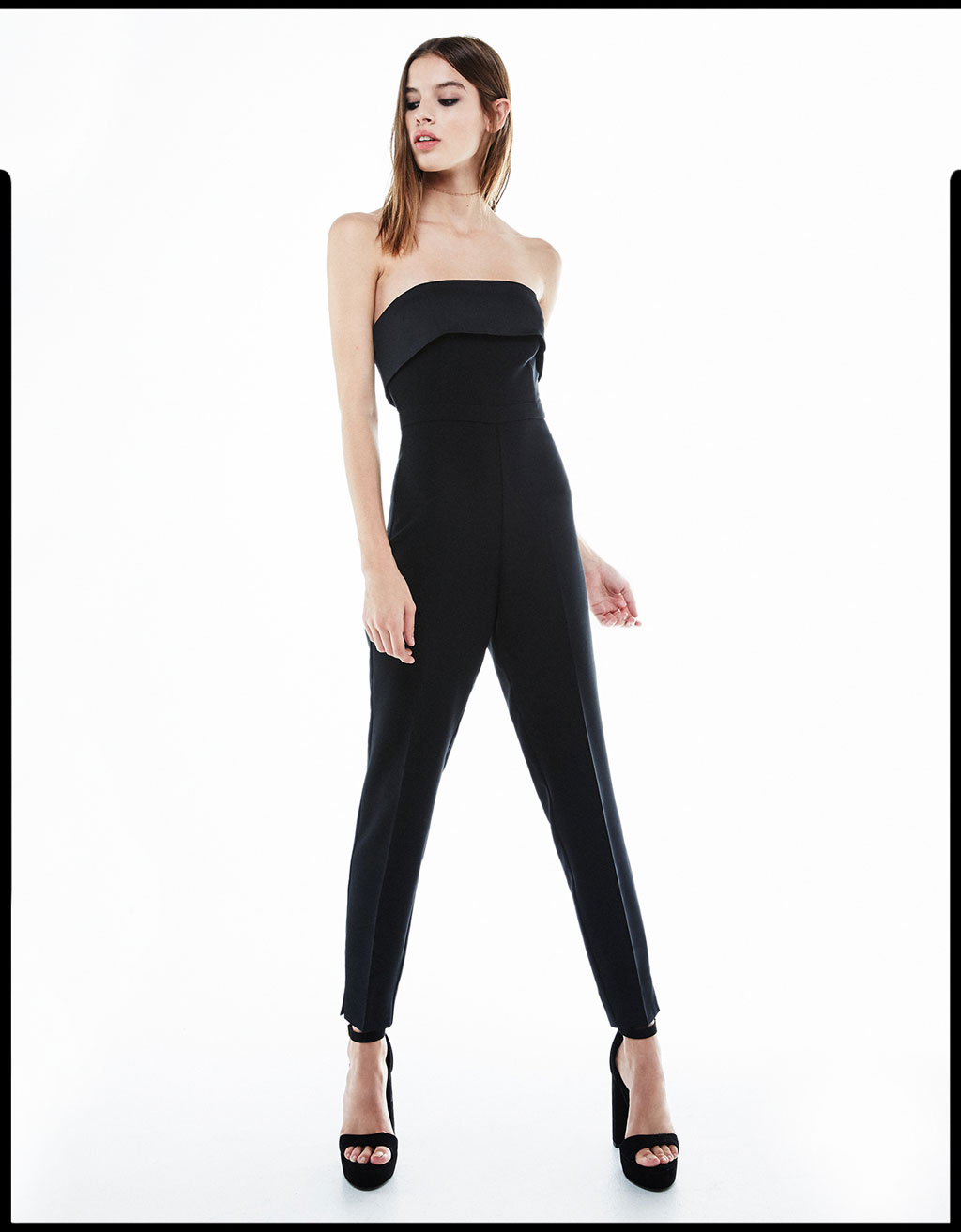Strapless fitted jumpsuit with frill