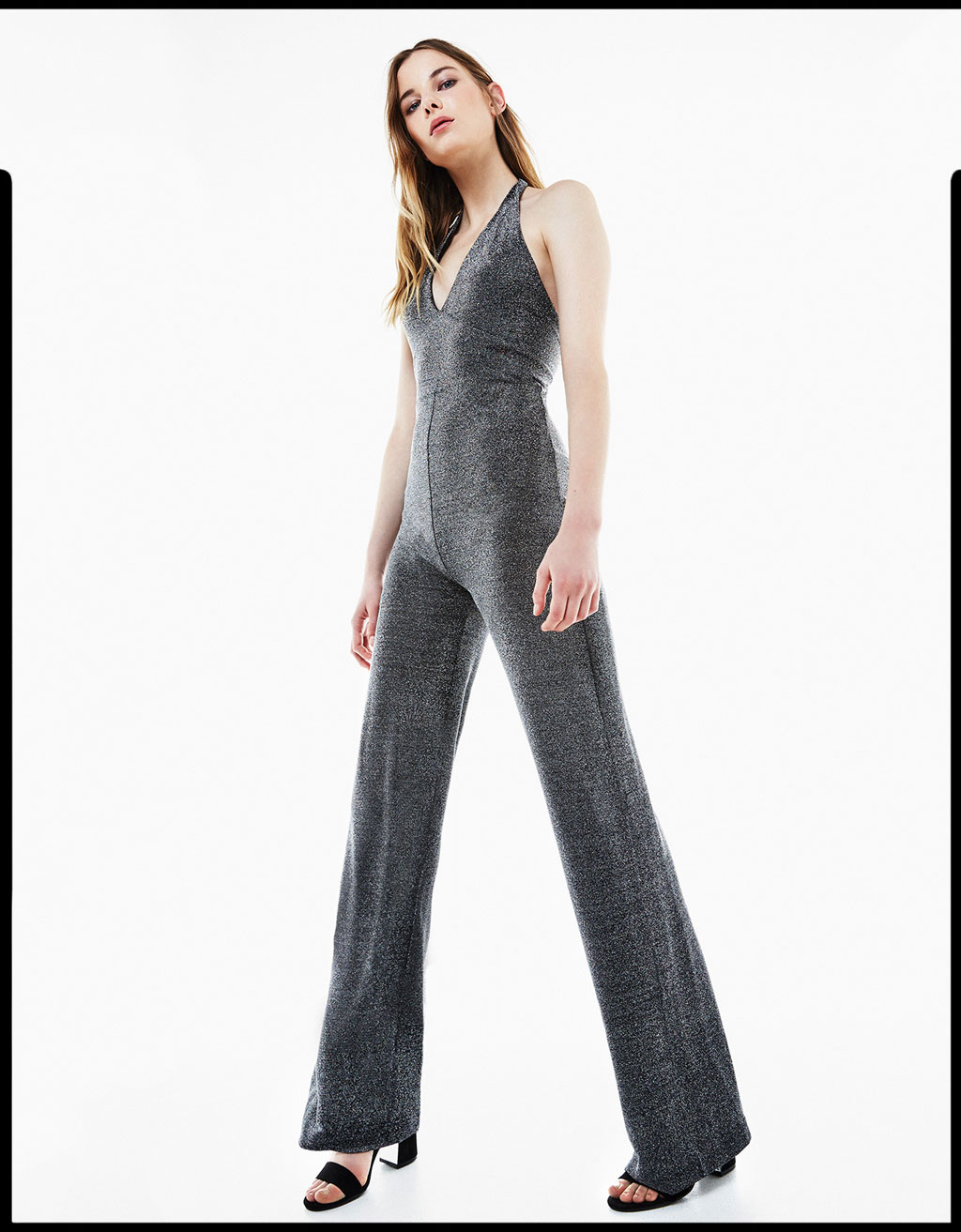 Long halter neck metallic shimmer jumpsuit