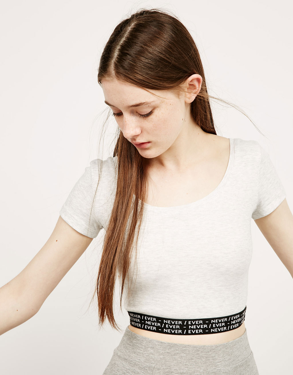 BSK cropped elastic band top with text
